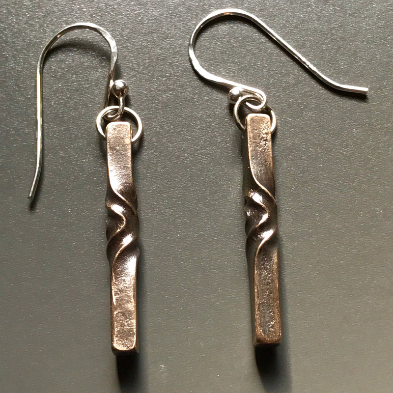 Handmade bronze 8th anniversary gift for women - modern twist earrings - elegant dangle earrings - blacksmith made