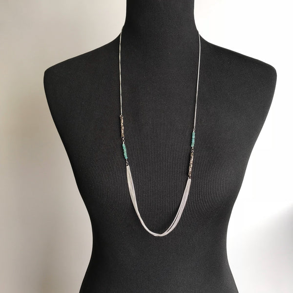 8th anniversary gift for wife -bronze and tourmaline station long necklace - mixed metals - faceted blue-green tourmaline