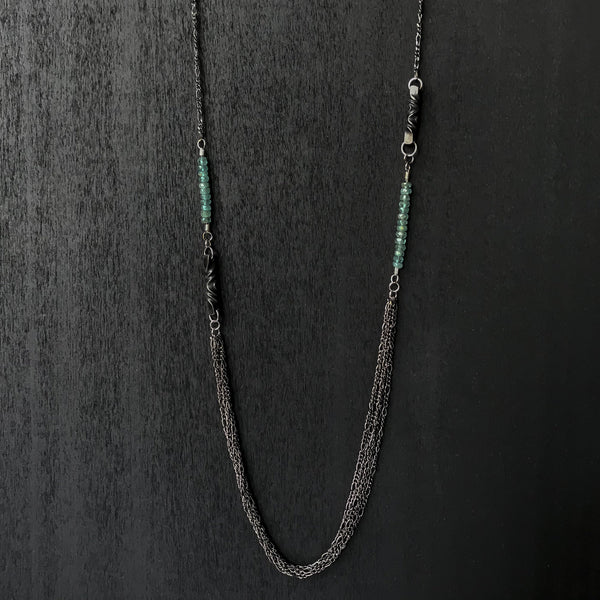 iron anniversary jewelry- iron and tourmaline necklace - steel anniversary jewelry gift - 6th anniversary for wife - blue green stone