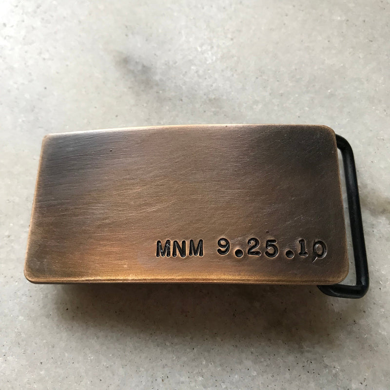 Bronze anniversary gift for him -Personalized bronze belt buckle- 8th anniversary gift for men - latitude longitude belt buckle