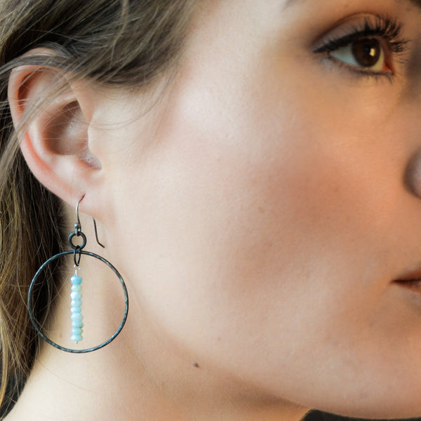 Iron and turquoise larimar 6th anniversary gift - steel earrings - blacksmith made - iron anniversary jewelry- hoop earrings