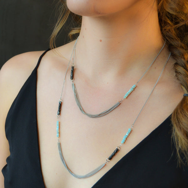 steel anniversary gift for her - iron and larimar necklaces - short and long necklace steel - turquoise - stainless steel