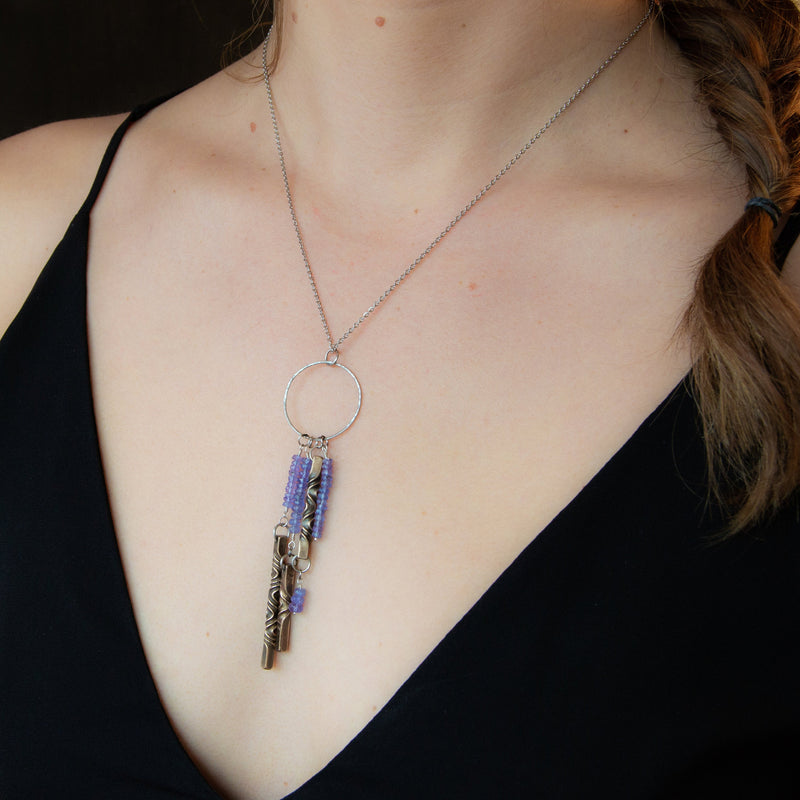 Statement necklace in December birthstone tanzanite and bronze- modern and rustic - architectural
