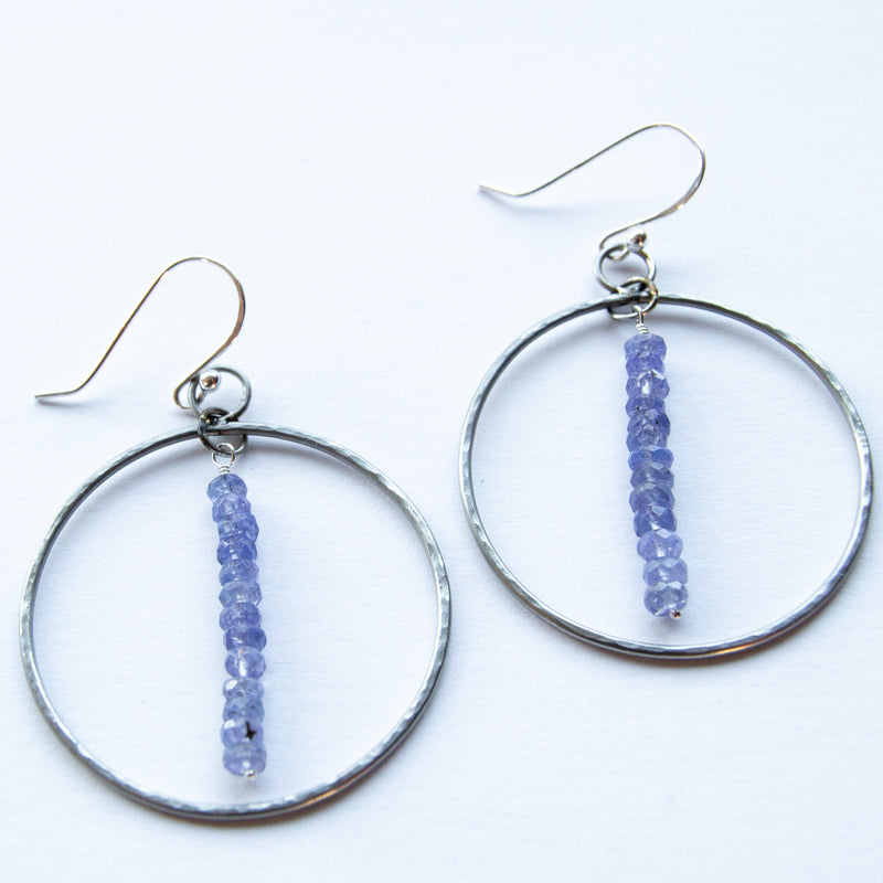 Stainless steel and tanzanite hoop earrings - 8th anniversary gemstone - steel earrings -  hoop earrings