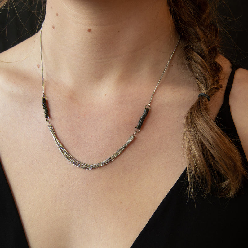 11th anniversary gift for wife- handmade modern steel necklace -stainless steel- iron necklace-architectural necklace -choker length-