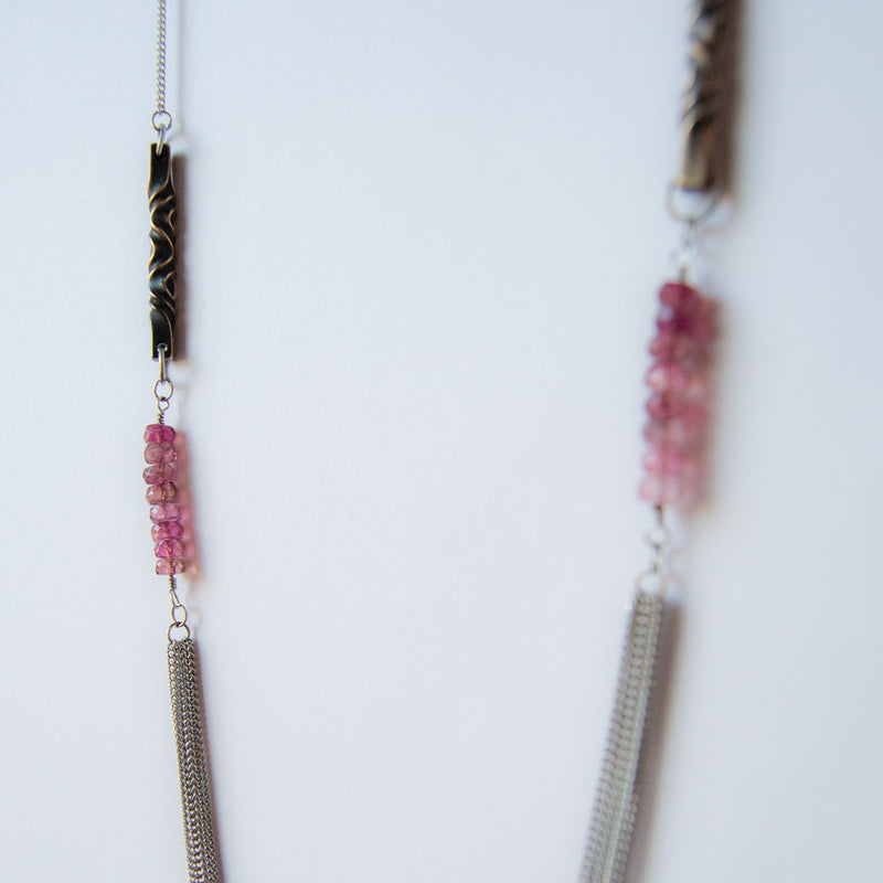 8th anniversary gift for wife -bronze and rose tourmaline station long necklace - mixed metals - faceted pink tourmaline