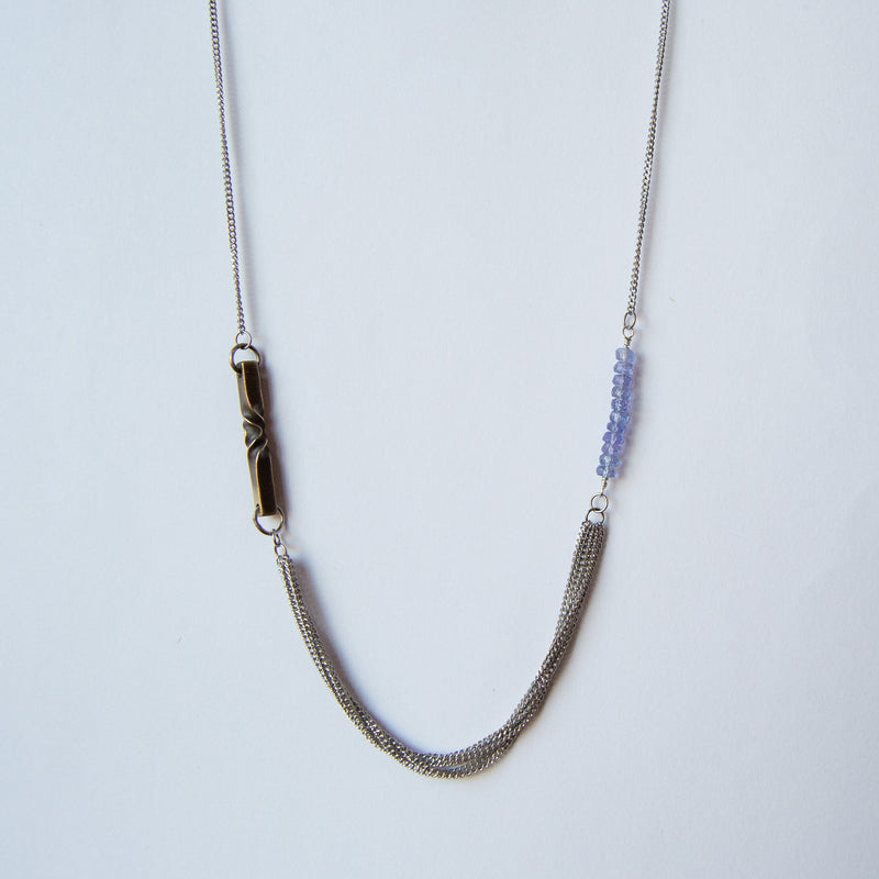 tanzanite and bronze necklace - bronze anniversary - 8th anniversary gift for her