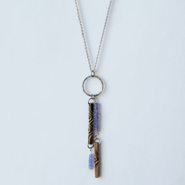 Tanzanite necklace - December birthstone- tanzanitejewelry - handmade modern jewelry
