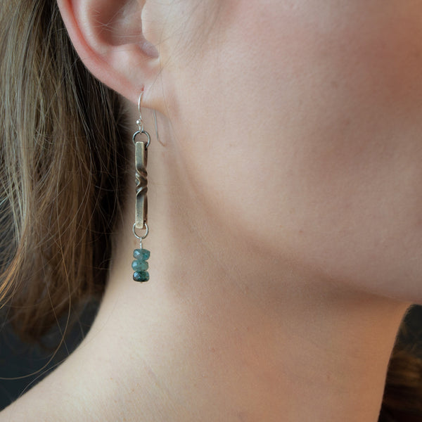 gem and bronze earrings - 8th anniversary gift for her- tanzanite, rose tourmaline, green tourmaline earrings