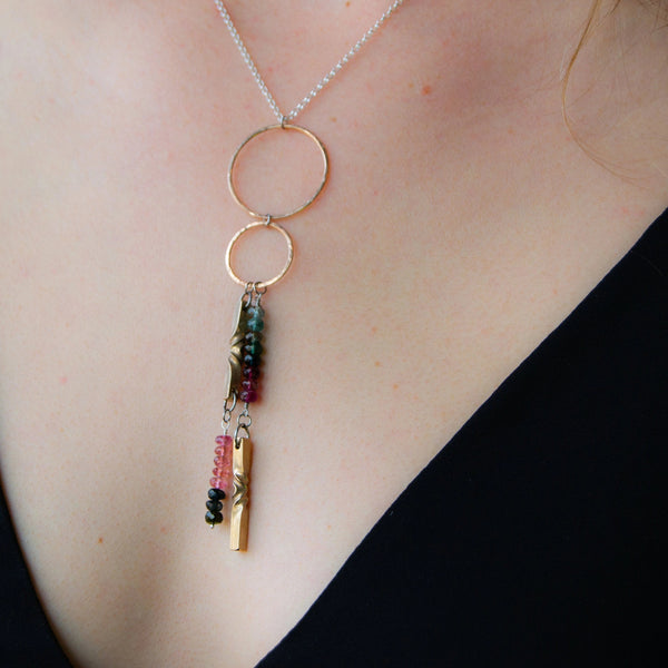 8th anniversary jewelry for wife - Bronze double hoop necklace with tourmaline and silver chain - bronze handmade necklace