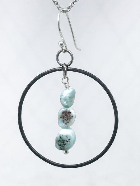 larimar and iron hoop earrings -6th anniversary gift for wife-   blacksmith made - iron anniversary jewelry- hoop earrings