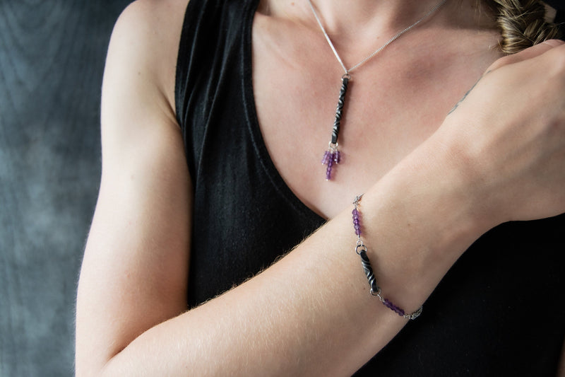 6th anniversary iron and amethyst modern pendant and bracelet- 6th anniversary gift for wife - made by blacksmith - iron anniversary gift