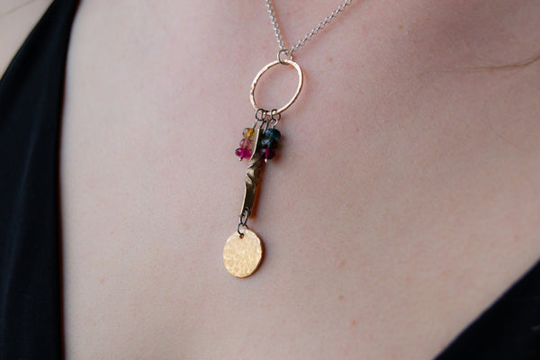 Beautiful bronze and tourmaline handmade 8th anniversary necklace, earrings and bracelet set