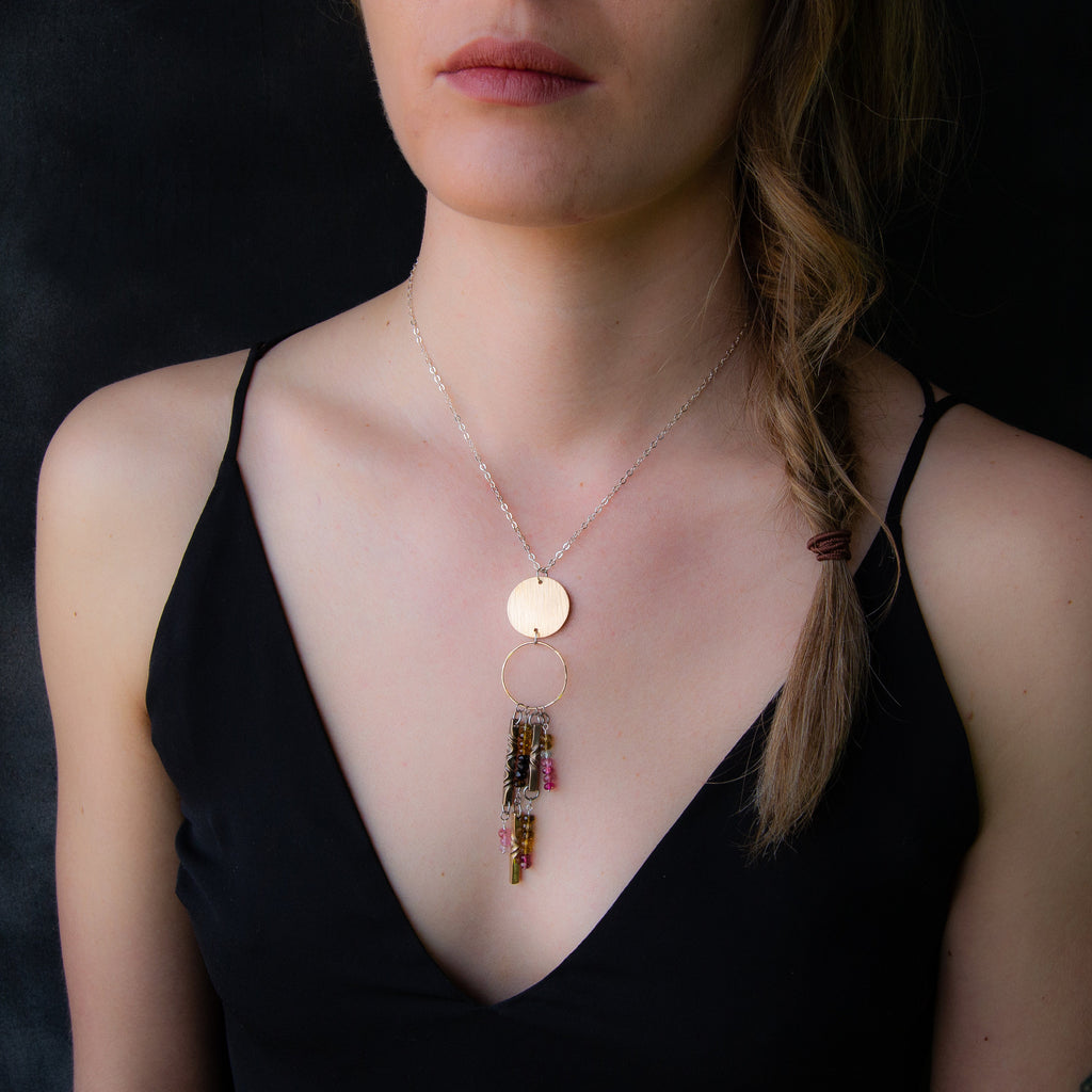 8th anniversary jewelry for her- Full moon new moon necklace with tourmaline and silver chain - bronze handmade statement jewelry