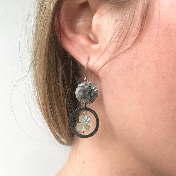 6th anniversary jewelry gift for her, iron earrings, hammered disc earrings, modern anniversary earrings, aquamarine jewelry
