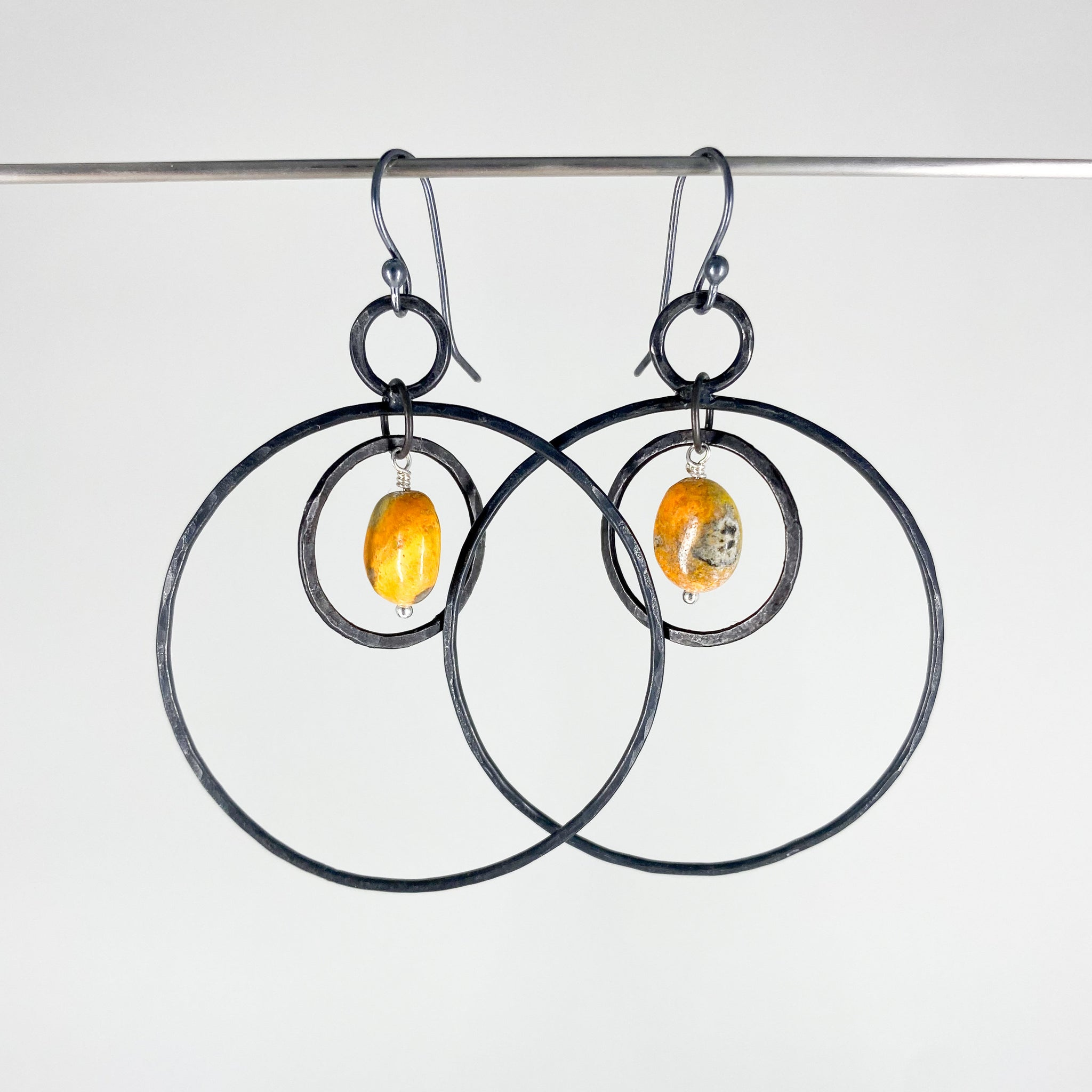 iron hoop earrings lightweight with bumblebee jasper, dangle hoop earrings in iron, jasper earrings, hand forged earrings