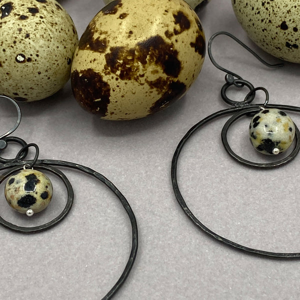 iron hoop earrings lightweight with dalmatian jasper, dangle hoop earrings in iron, jasper, hand forged earrings, 6th anniversary gift