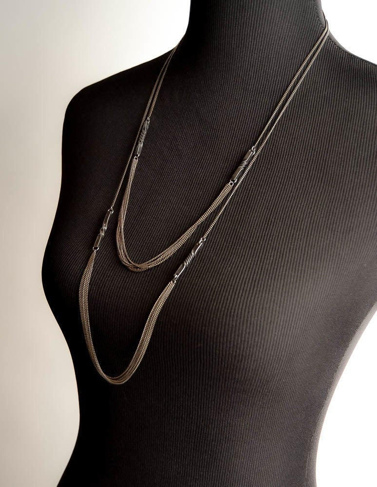 6th anniversary gift - steel twist earrings and necklace set - multiple blackened chains - steel anniversary jewelry gift - 11th anniversary