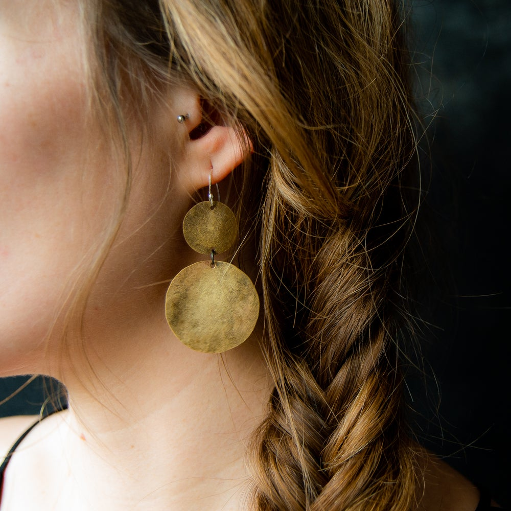 Ra Double Disk Earrings
