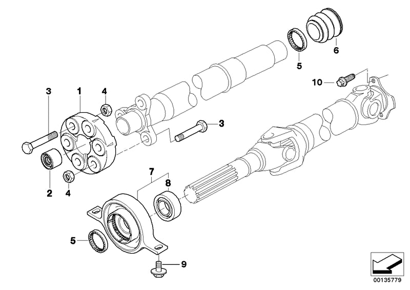 BMW Drive Shaft Suspension Support with Bearing