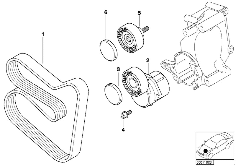 BMW Engine Deflection Guide Pulley V-Ribbed Belt