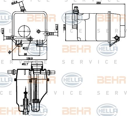 Genuine Behr BMW Engine Radiator Coolant Water Expansion Tank with Level Switch