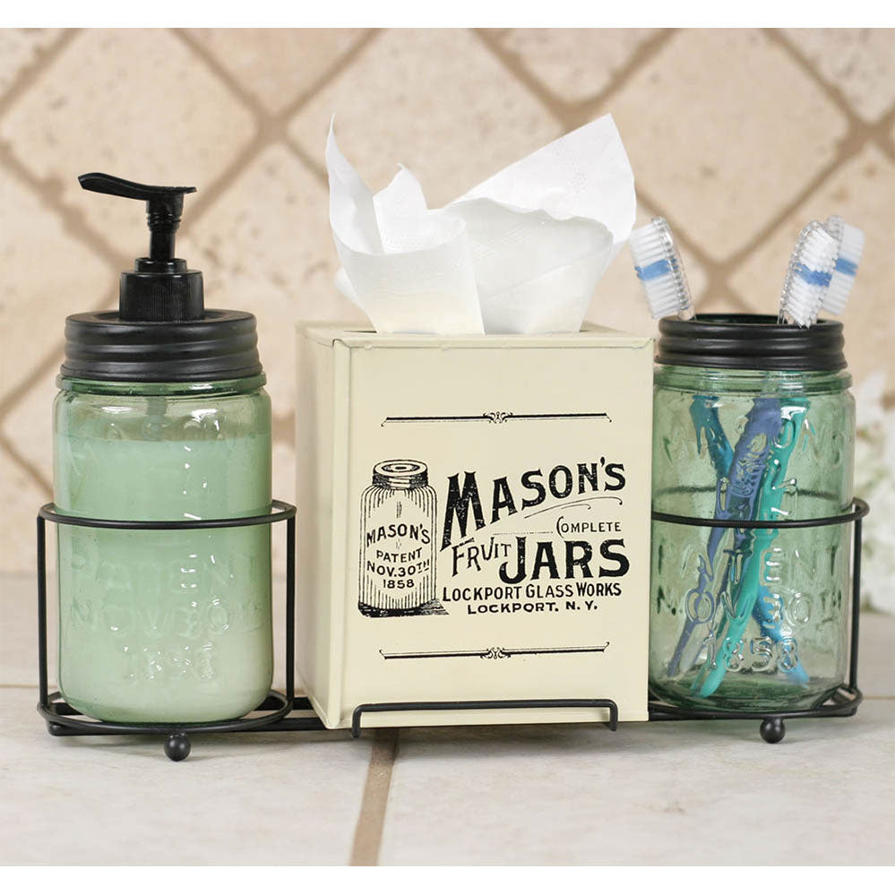 Mason Jar Bathroom Caddy with Tissue Box