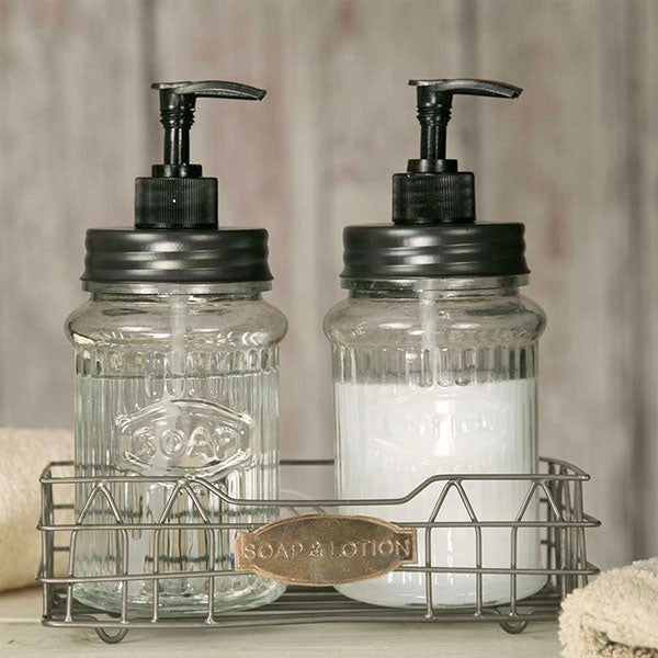 Hooiser Lotion and Soap Caddy with Glass Dispensers