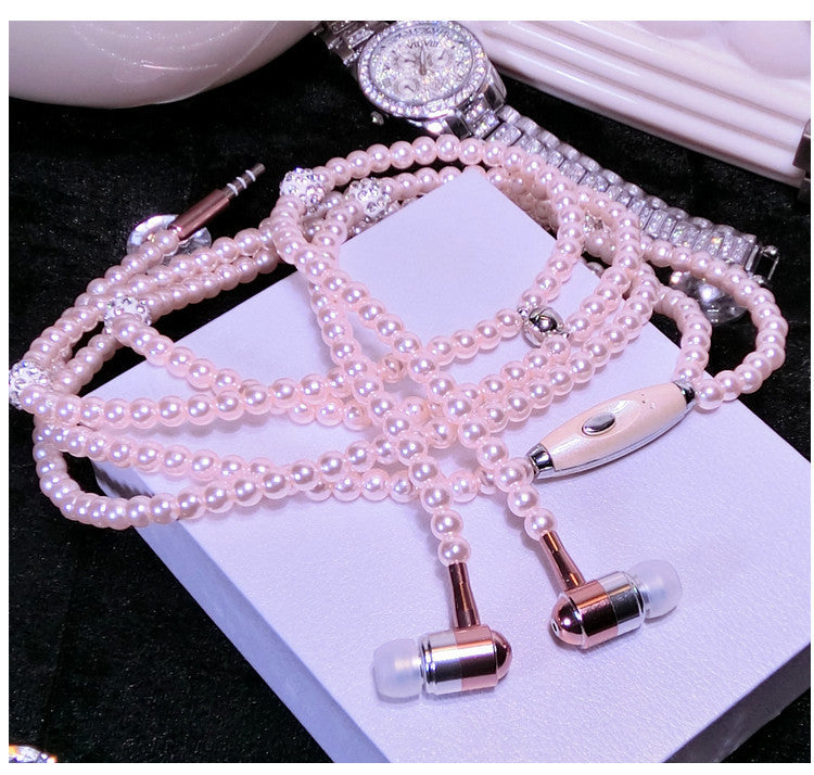 Pink Rhinestone Necklace Earphones