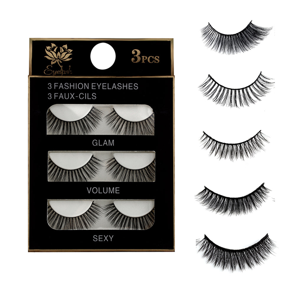 3 Pairs Natural Eye Lashes Extension
