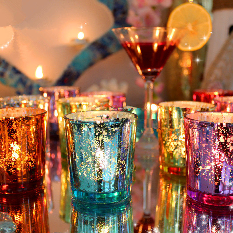 Colorful Glass Cup Candle Holder