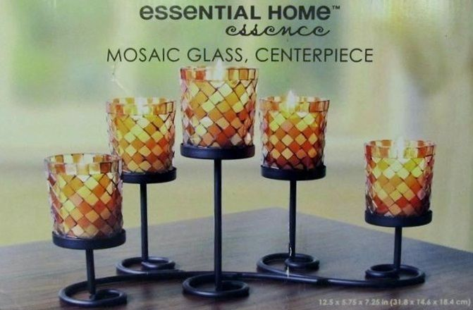 Case of [2] Mosaic Glass, Candle Holder Centerpiece
