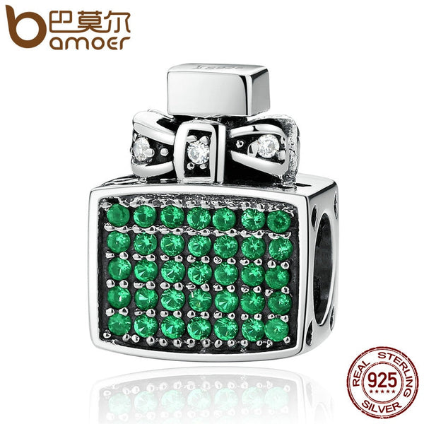 BAMOER Authentic 100% 925 Sterling Silver Green Perfume Bottle Bow Knot Bead Charms Fit  Bracelets Jewelry SCC093