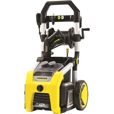 Image of Karcher K2000-2000 PSI 1.3 GPM Electric Pressure Washer w/Wheels Folding Handle Dual Detergent Tanks Hose Reel-Anthracite/Bla