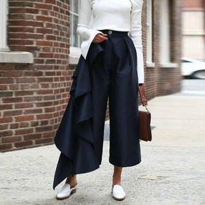 Fashion Solid Color  Loose Broad pants