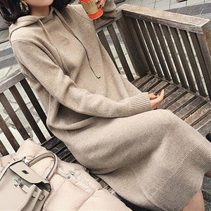 Casual Hooded Long Knit Sweater Dress
