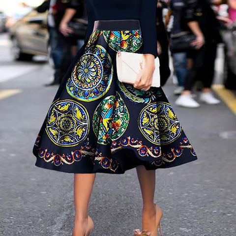 Fashion Vintage Floral Print Skirt Skater Dress