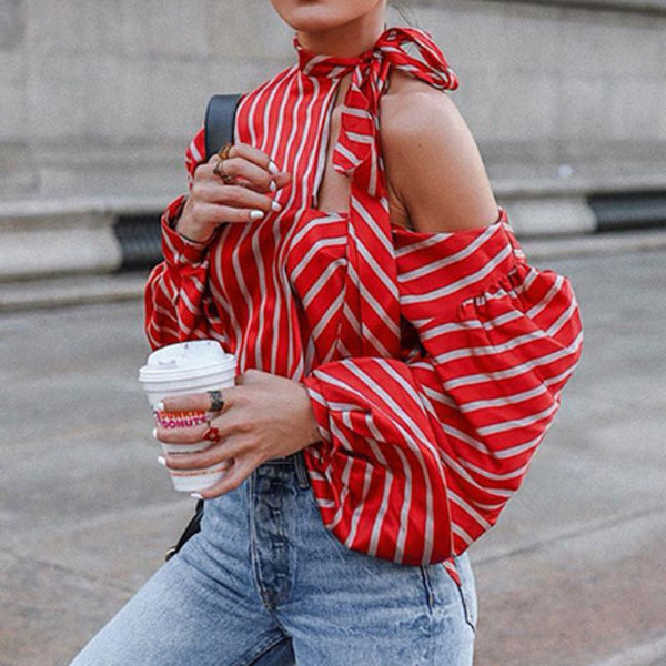 High Neck  Striped  Blouses