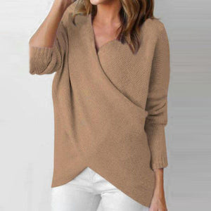 Surplice  Asymmetric Hem  Plain Sweaters