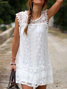 Round Neck Lace Plain Casual Dresses