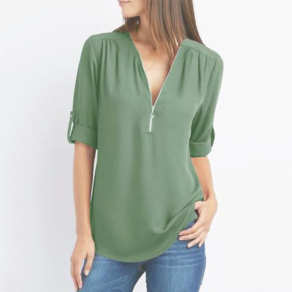 Zips  Plain Shirts&Blouses