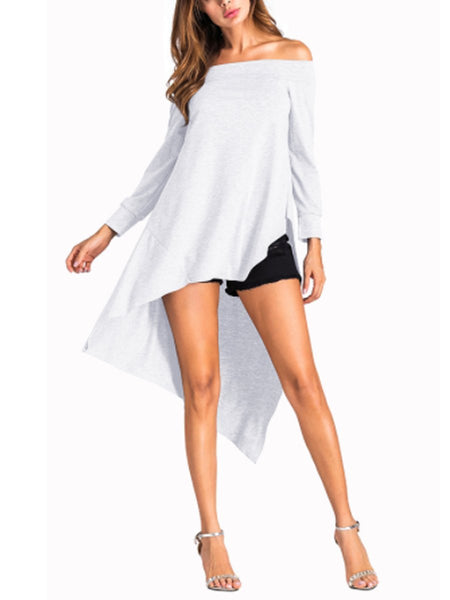 Boat Neck  Asymmetric Hem  Plain Long Sleeve T-Shirts