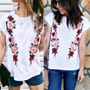 Casual Pure Color Round Collar Rose Printing Shirt