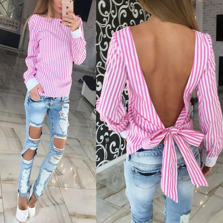 Sexy Backless Stripe Long-Sleeved  Shirt