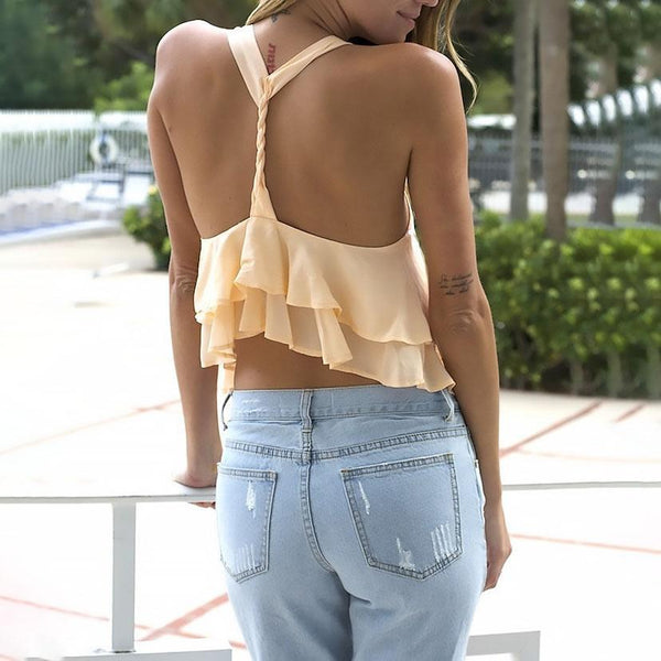 Sexy Pure Color Double Frilled Chiffon Shirt