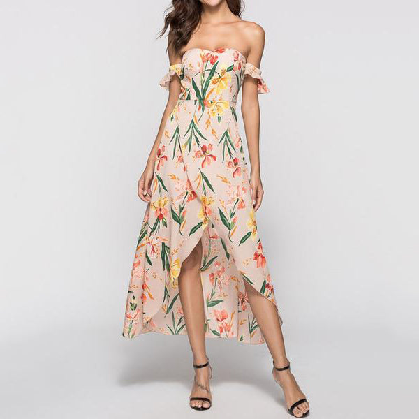 e57d087e6e31 Strapless Asymmetric Hem Printed Maxi Dress – whostylish