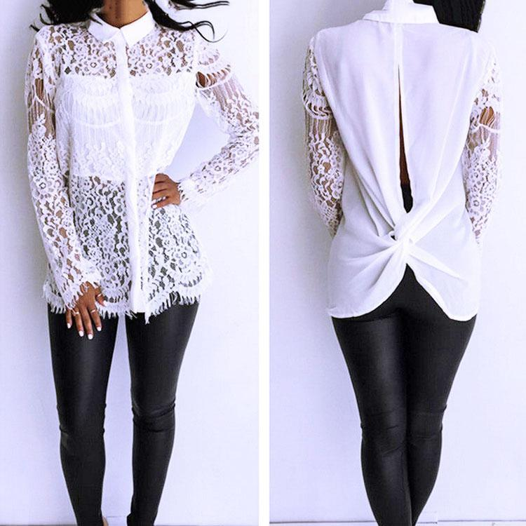 Fashion Symmetrical Embroidery Hollow Lace Stitching Shirt