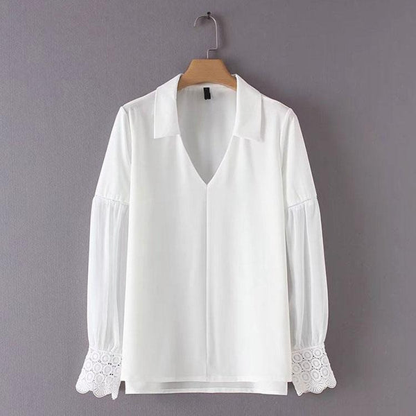 Fashion Pure Color Lapel Lace Stitching Long Sleeve Shirt