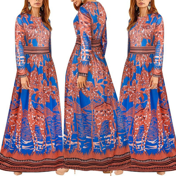 Prited Long Sleeve Round Neck Maxi Dresses