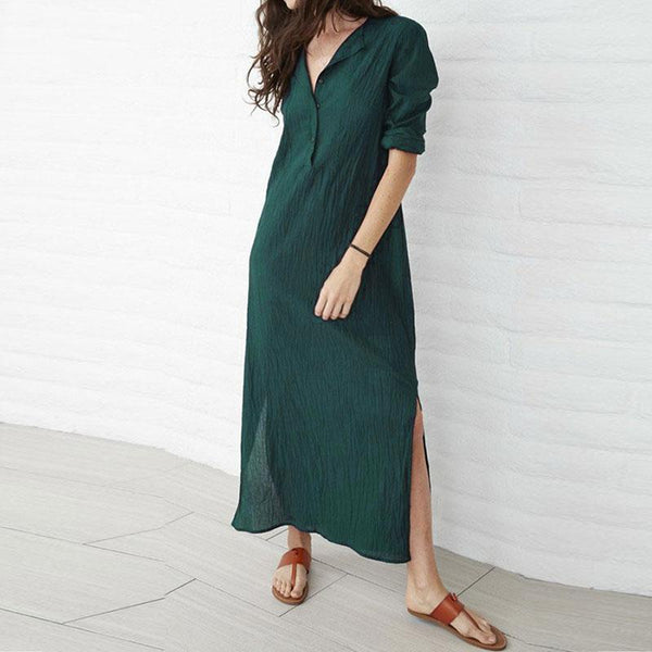 Long Sleeve V Neck  Maxi Dress